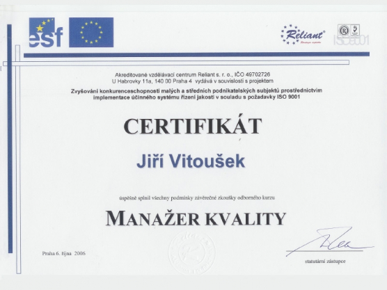 Manager of quality certificate
