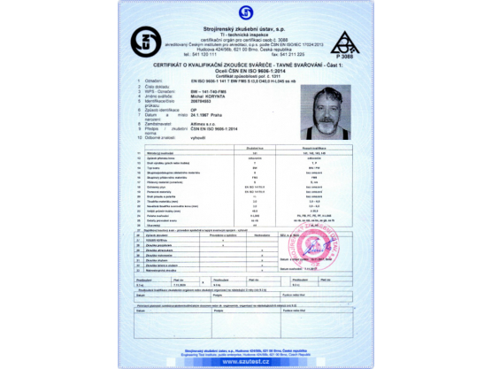 Certificate of Qualification exam of Welder, ČSN EN ISO 9606-1:2014, BW – 141-T40-FM5, Michal Korynta
