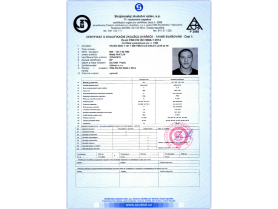 Certificate of Qualification exam of Welder, ČSN EN ISO 9606-1:2014, BW – 141-T40-FM5, Matěj Pertlík
