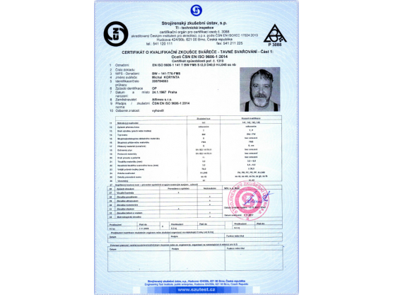 Certificate of Qualification exam of Welder, ČSN EN ISO 9606-1:2014, BW – 141-T76-FM5, Michal Korynta