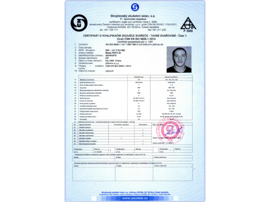 Certificate of Qualification exam of Welder, ČSN EN ISO 9606-1:2014, BW – 141-T76-FM5, Matěj Pertlík