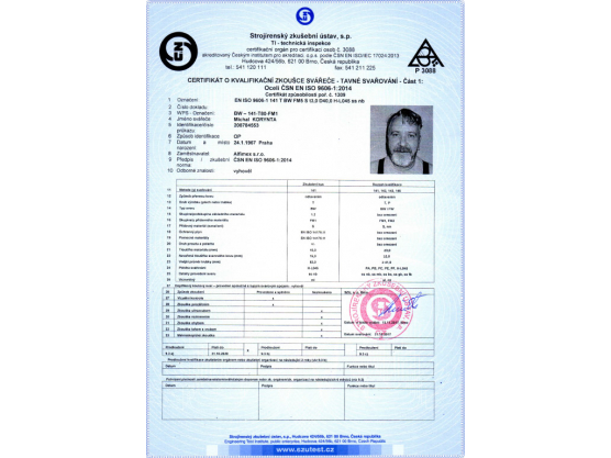 Certificate of Qualification exam of Welder, ČSN EN ISO 9606-1:2014, BW – 141-T80-FM1, Michal Korynta