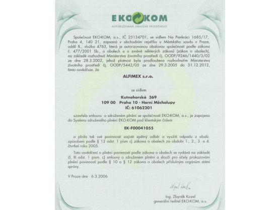 The contract on collective performance with EKO-KOM