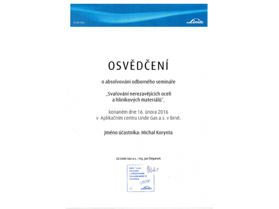 """Welding of stainless steels and aluminium materials"" Certification, Michal Korynta"