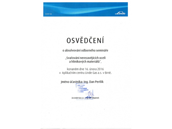 """Welding of stainless steels and aluminium materials"" Certification, Dan Pertlík"