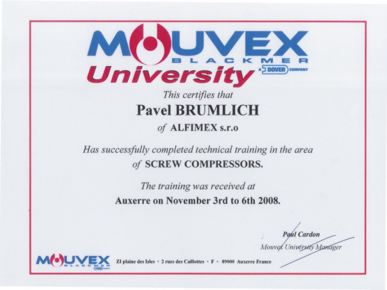 Mouvex Blackmer training, Pavel Brumlich